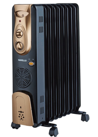 havells ofr - 9fin 2500-watt ptc fan heater (black)